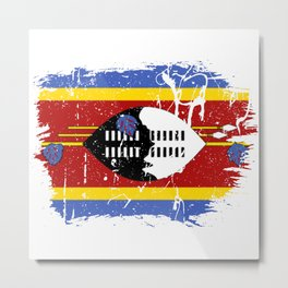 Distressed Swaziland Flag Graffiti Metal Print