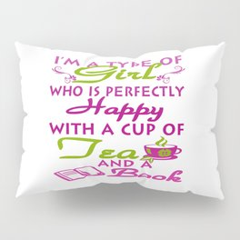 Girl with a cup of tea and a book Pillow Sham