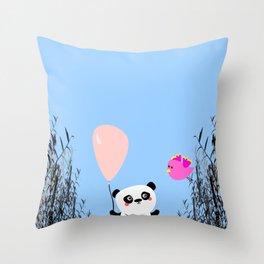 Cute Panda and Bird Throw Pillow