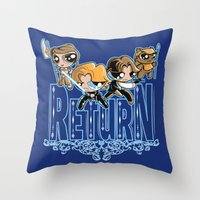 return Throw Pillows featuring Return by SilverBaX
