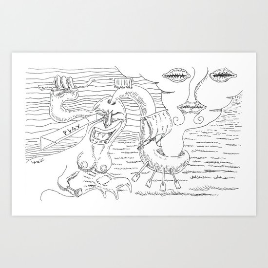play in oceans of happiness Art Print