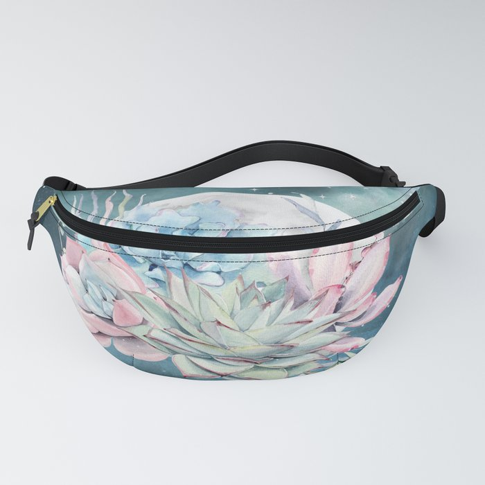 Beautiful Succulents Full Moon Teal Pink Fanny Pack