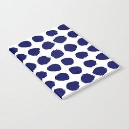 Aria - indigo brushstroke dot polka dot minimal abstract painting pattern painterly blue and white  Notebook