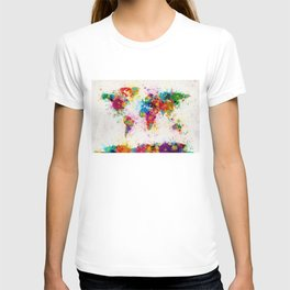 Map of the World Map Paint Splashes T-shirt