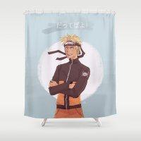sasuke Shower Curtains featuring Dattebayo! by Gianbe