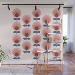 Mid century circle gradient flowers pattern on products Wall Mural