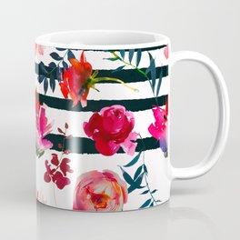 Black white pink floral watercolor stripes pattern Coffee Mug