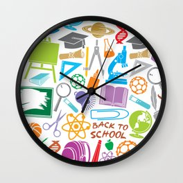education and school icons background (seamless pattern) Wall Clock