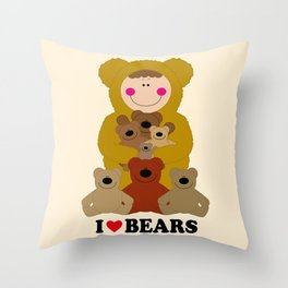 I♥BEARS Throw Pillow