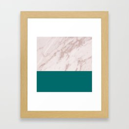 Real Rose Gold Marble and Biscay Bay Framed Art Print