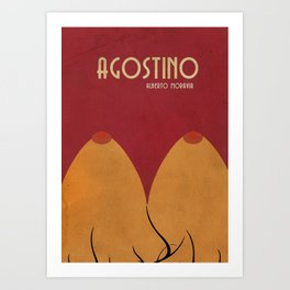 Agostino, Alberto Moravia, sex, book cover illustration, italian novel, writer, journalist, italian Art Print