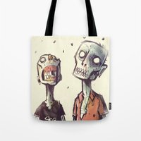 zombies Tote Bags featuring Zombies! by Peerro