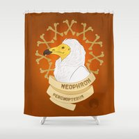 egyptian Shower Curtains featuring Egyptian Vulture by LostReach