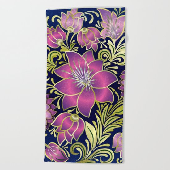 Shabby flowers #1 Beach Towel