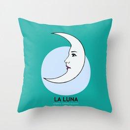 La Luna Mexican Loteria Card Throw Pillow