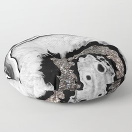 Gray Black White Agate with Silver Glitter #1 #gem #decor #art #society6 Floor Pillow
