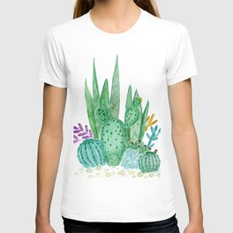 Cacti and succulents . Watercolor . T-shirt