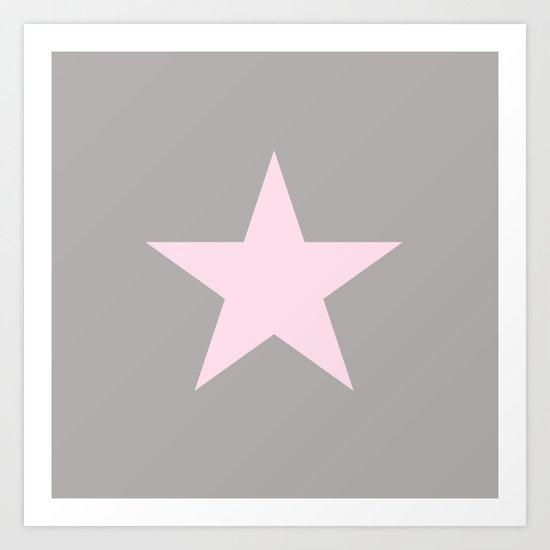 Pink star on grey background Art Print