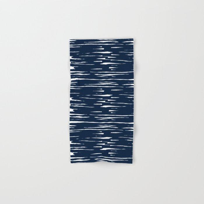 Maritime pattern- darkblue handpainted stripes on clear white- horizontal Hand & Bath Towel