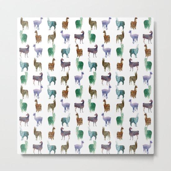 Color Llamas Pattern Metal Print