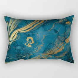 Fire & Ice Blue and gold marbling swirls Rectangular Pillow