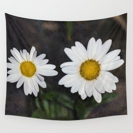 Old And Young Daisies Texture Wall Tapestry