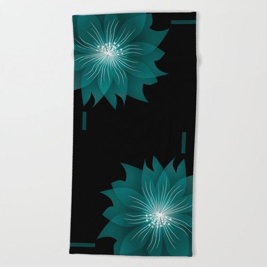Blue flower on a black background .  Beach Towel