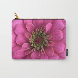 Ombre Pink Zinnia Center Petals Unfurling Close Up Carry-All Pouch