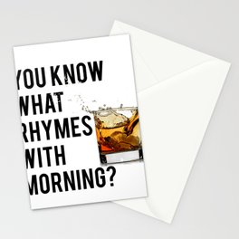 FUNNY WALL ART, Whiskey quote, You know what rhymes with morning, Whiskey quote Stationery Cards