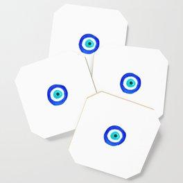 Single Evil Eye Amulet Talisman Ojo Nazar - on white Coaster