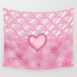 Girly Stripped Hearts and Love Wall Tapestry