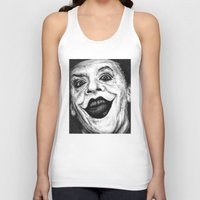 jack nicholson Tank Tops featuring Jack Nicholson Joker Stippling Portrait by Joanna Albright