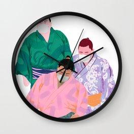 SUMO WRESTLERS IN MASKS 2 Wall Clock