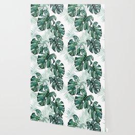 Botanical Green Monstera Leaf Wallpaper