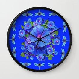 BLUE MORNING GLORIES DRAGONFLIES ART Wall Clock