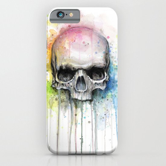Skull Rainbow Watercolor Painting Skulls iPhone & iPod Case