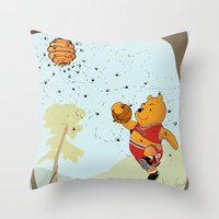 pooh Throw Pillows featuring Pooh Rose by Jen Hynds