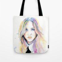 college Tote Bags featuring College girl by Cora-Tiana