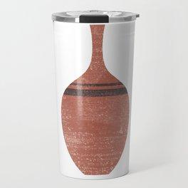 Minimal Abstract Greek Vase 6 - Alabastron - Terracotta Series - Modern, Contemporary Print - Brown Travel Mug