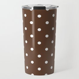 Polka Dots Pattern: Chocolate Brown Travel Mug