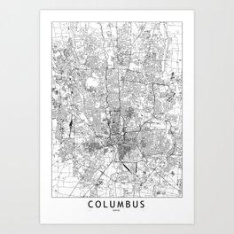 Columbus White Map Art Print