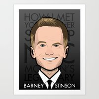 how i met your mother Art Prints featuring Barney Stinson - How I Met Your Mother by Mathieu Marcou