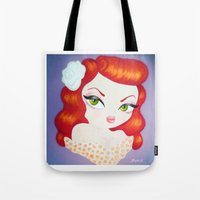 rockabilly Tote Bags featuring Rockabilly Redhead by Little Bunny Sunshine