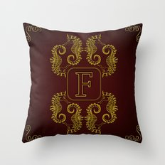 Monogram F Seahorse Throw Pillow