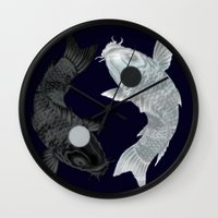 aang Wall Clocks featuring Yin Yang Koi by chardeekellys