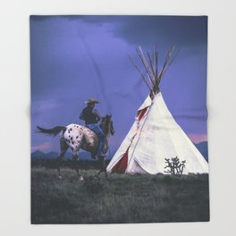 Cowboy Riding Horse to Teepee Throw Blanket