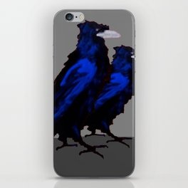 Two Blue  Crows Art Design on Grey iPhone Skin