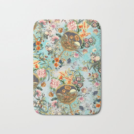Floral and Lobster Bath Mat