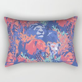 Family of three lions among the grass and bushes Rectangular Pillow