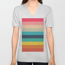 Colorful Timeless Stripes Totetsu Unisex V-Neck
